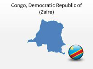 Congo Democratic RepublicOf PowerPoint Map Shape. 100% editable in PowerPoint!