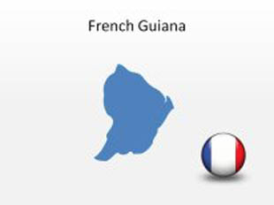 French Guiana PowerPoint Map Shape. 100% editable in PowerPoint!