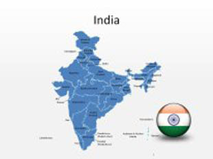 India PowerPoint Map Shape. 100% editable in PowerPoint!