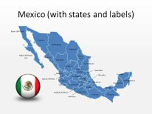 Mexico 3 PowerPoint Map Shape. 100% editable in PowerPoint!