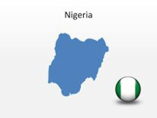 Nigeria PowerPoint Map Shape. 100% editable in PowerPoint!