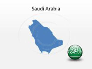 Saudi Arabia PowerPoint Map Shape. 100% editable in PowerPoint!