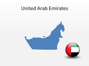 United Arab Emirates PowerPoint Map Shape. 100% editable in PowerPoint!