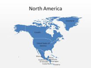 North America PowerPoint Map Shape. 100% editable in PowerPoint!
