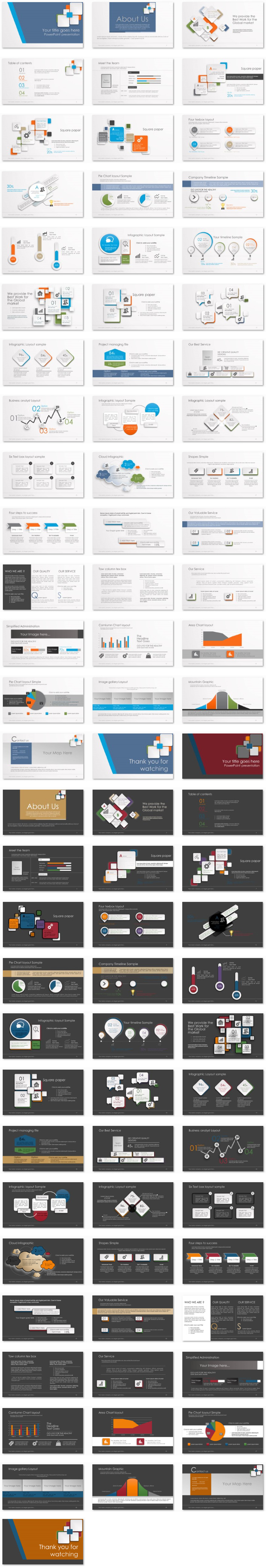 Power Presentation: 3D Paper Squares PPT Premium PowerPoint Presentation Template Slide Set