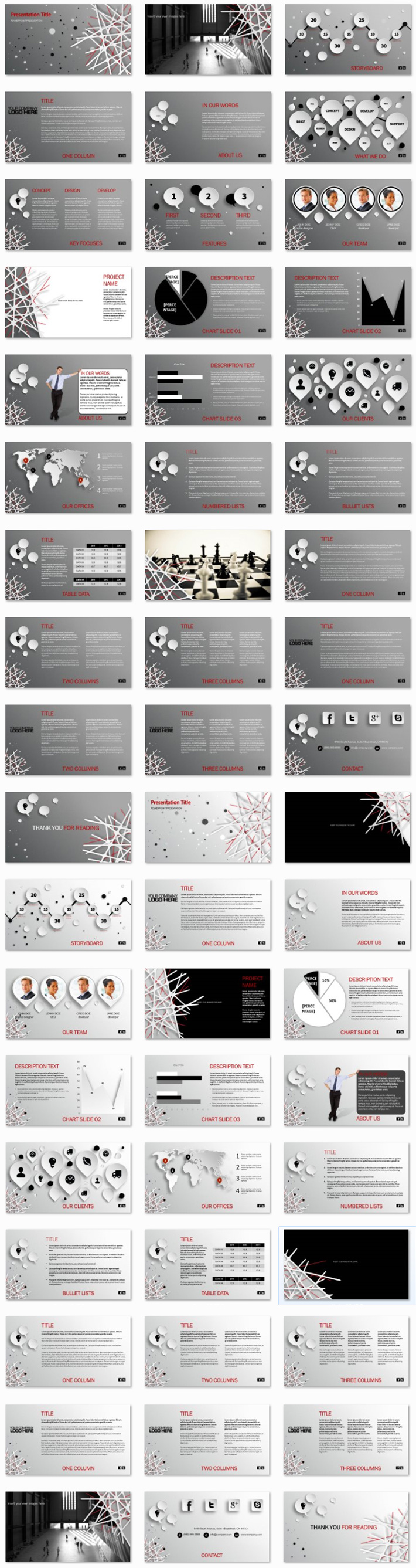 Power Presentation: Abstract Web PPT Premium PowerPoint Presentation Template Slide Set