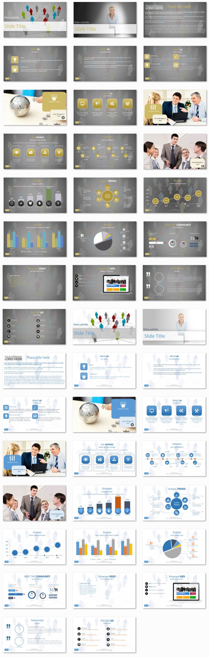 Power Presentation: Abstract People PPT Premium PowerPoint Presentation Template Slide Set