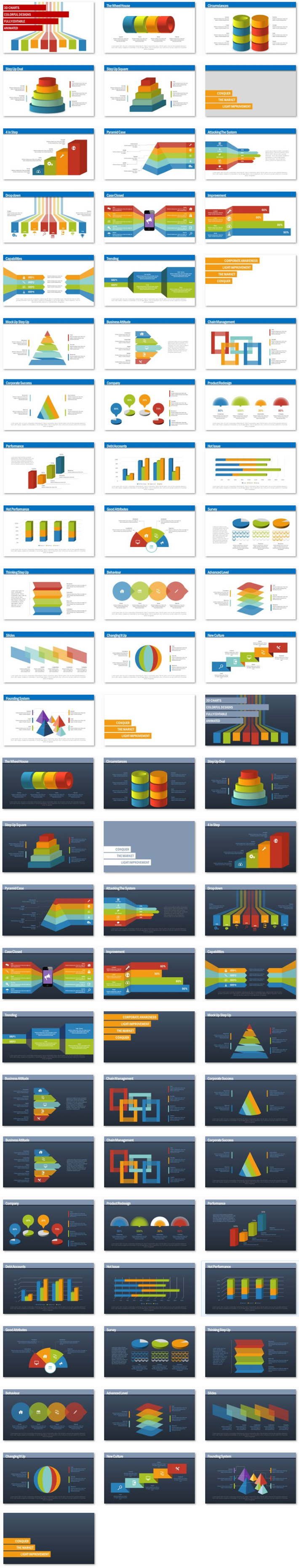 NEW Power Presentation: Infographics 3D Set PPT Premium PowerPoint Presentation Template Slide Set