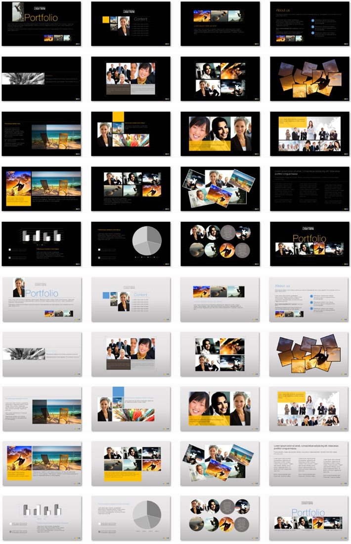 Power Presentation: Portfolio PPT Premium PowerPoint Presentation Template Slide Set