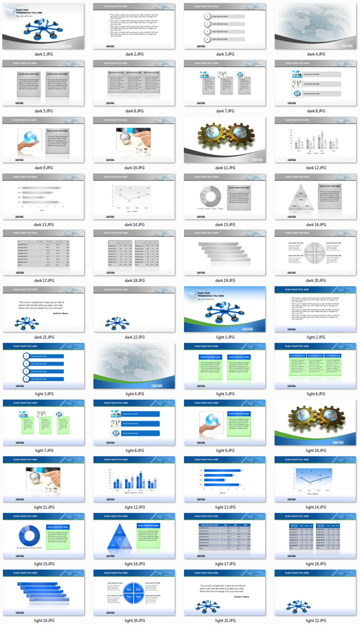 Power Presentation: Global 2 PPT Premium PowerPoint Presentation Template Slide Set