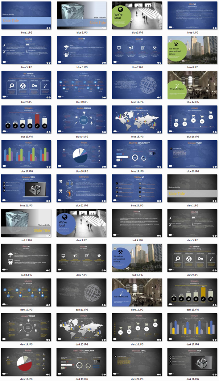 Power Presentation: Global 3 PPT Premium PowerPoint Presentation Template Slide Set