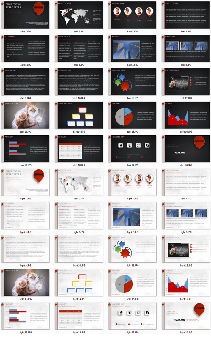 Power Presentation: Location PPT Premium PowerPoint Presentation Template Slide Set